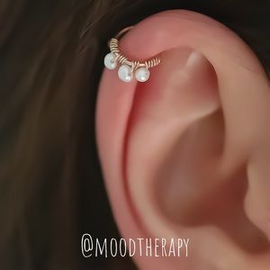Real Pearl Cartilage/Helix Hoop Earring
